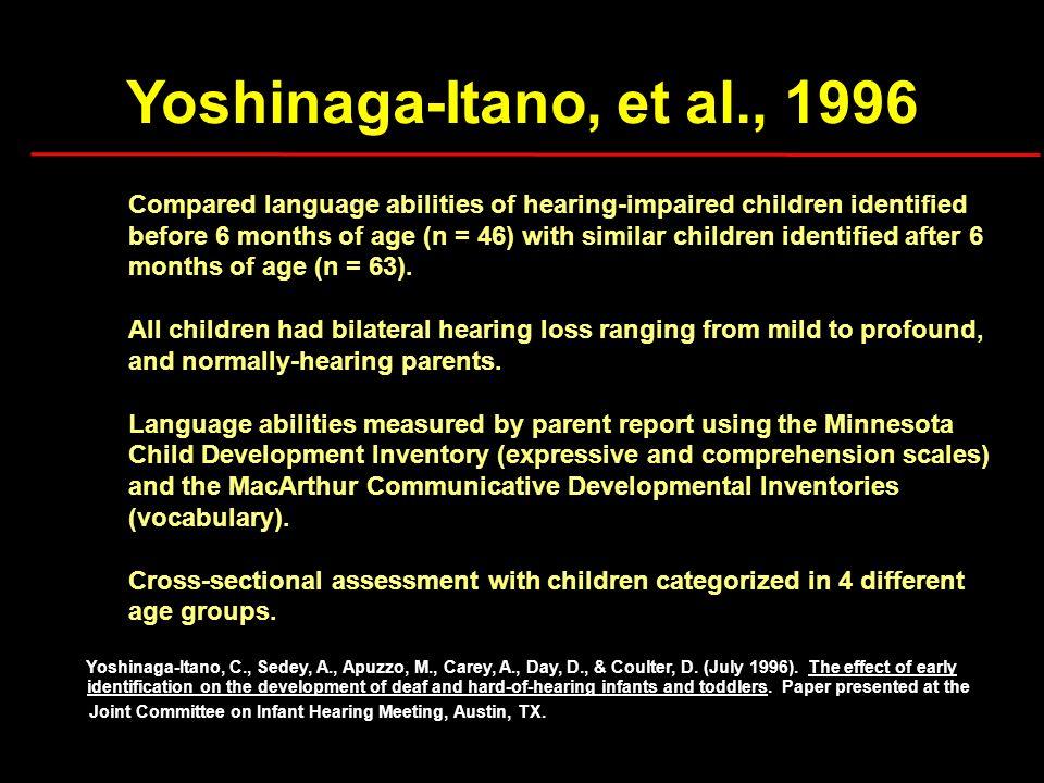 Yoshinaga-Itano, et al., 1996 Compared language abilities of hearing-impaired children identified.