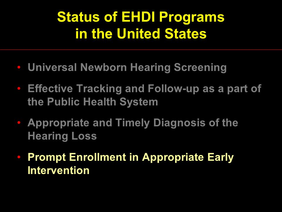 Status of EHDI Programs in the United States