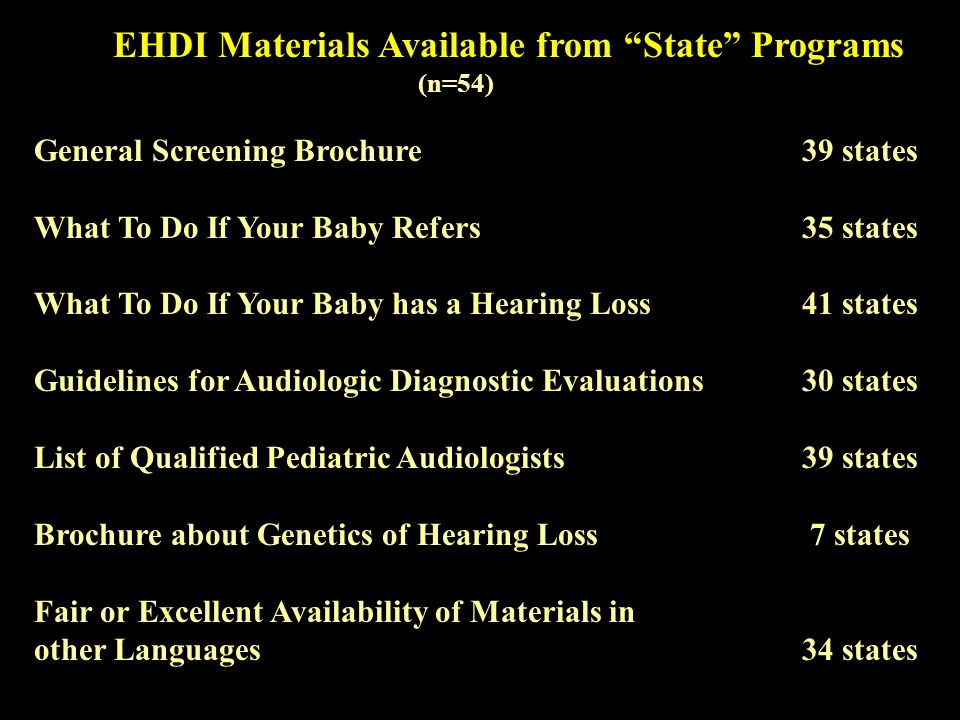 EHDI Materials Available from State Programs