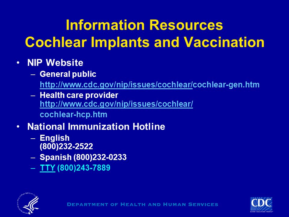 Information Resources Cochlear Implants and Vaccination
