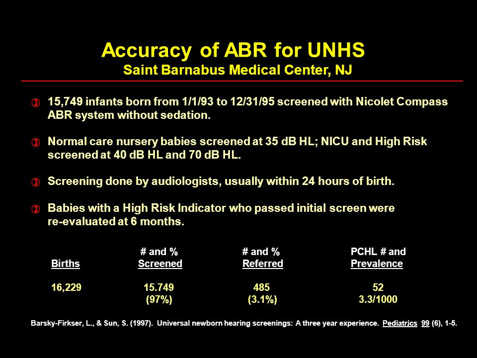Accuracy of ABR for UNHS