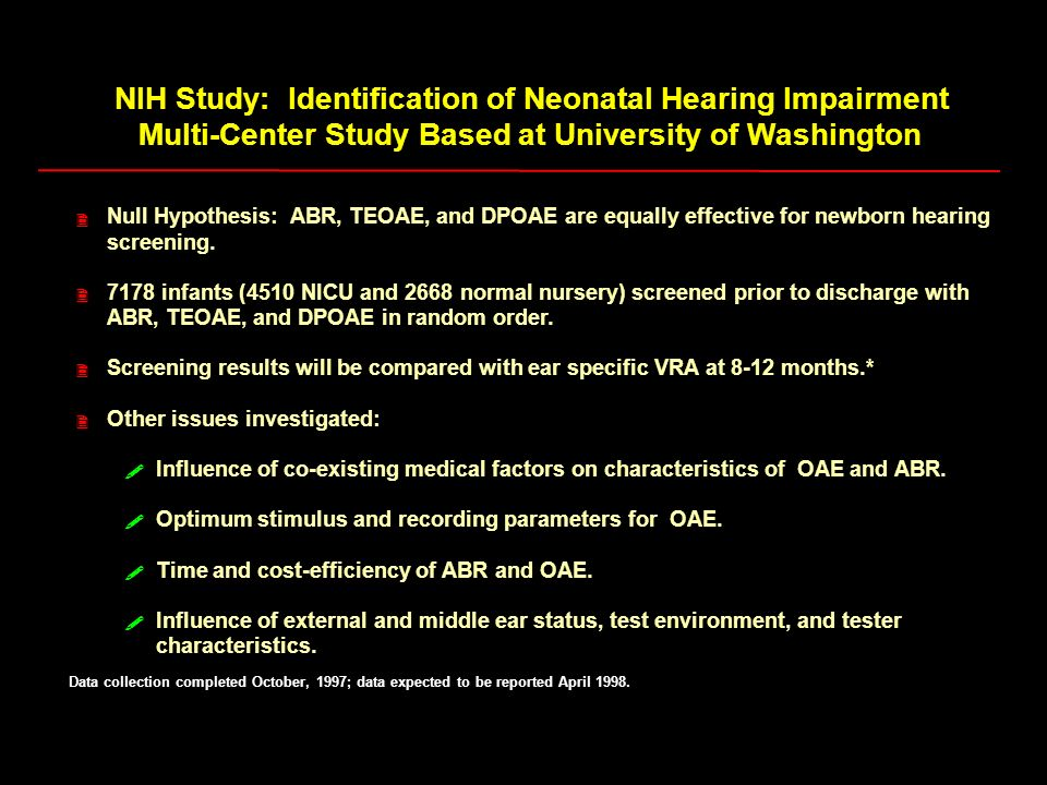 NIH Study: Identification of Neonatal Hearing Impairment