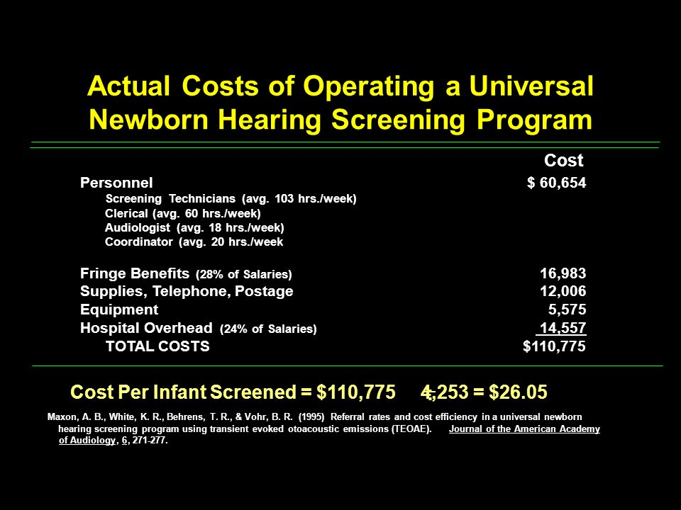 Actual Costs of Operating a Universal