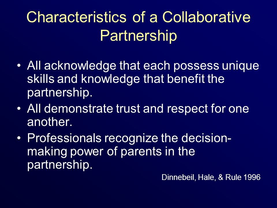 Characteristics of a Collaborative Partnership