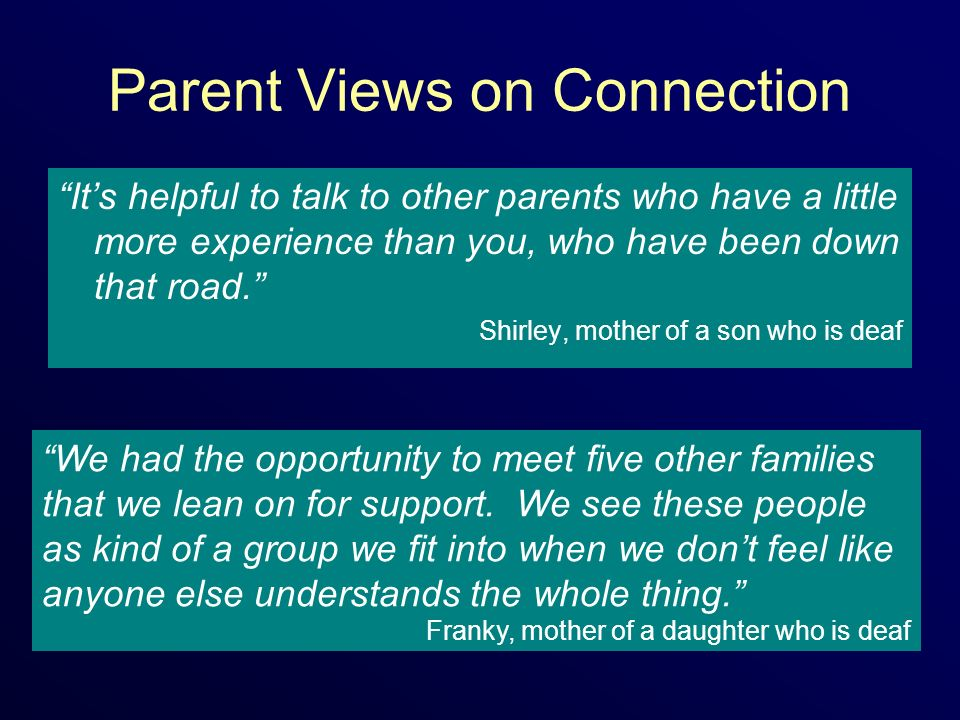 Parent Views on Connection