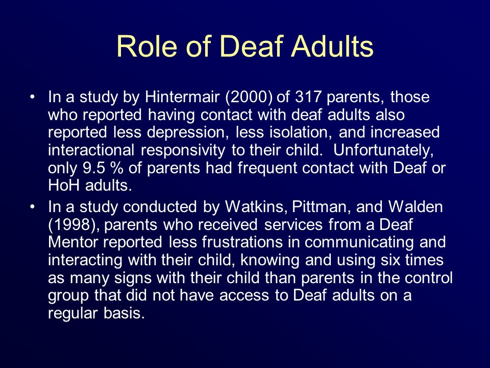 Role of Deaf Adults