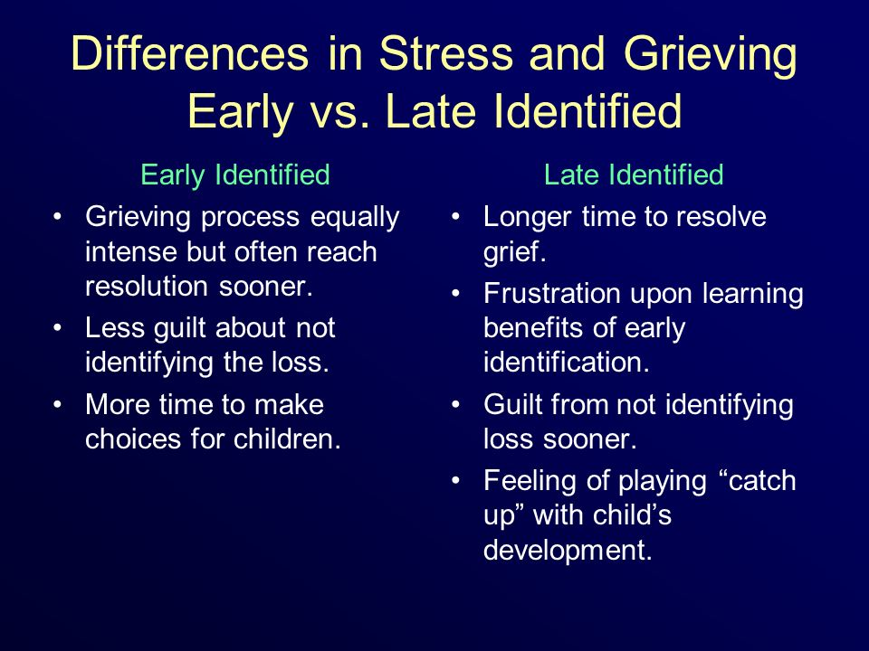Differences in Stress and Grieving Early vs. Late Identified