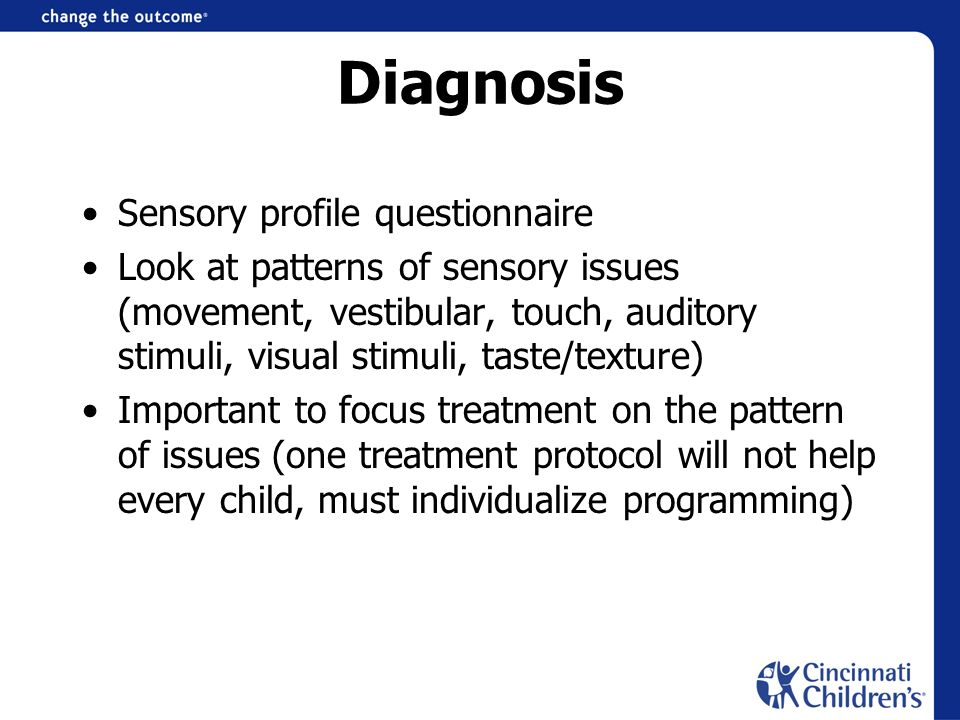 Diagnosis Sensory profile questionnaire