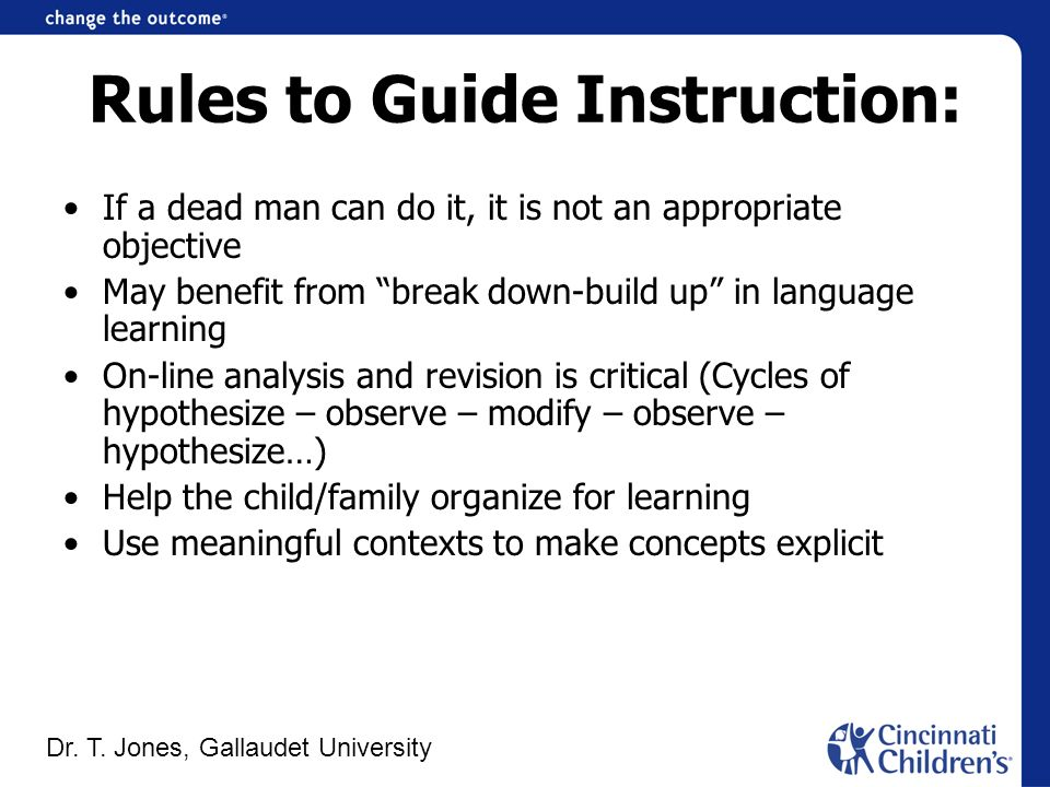 Rules to Guide Instruction: