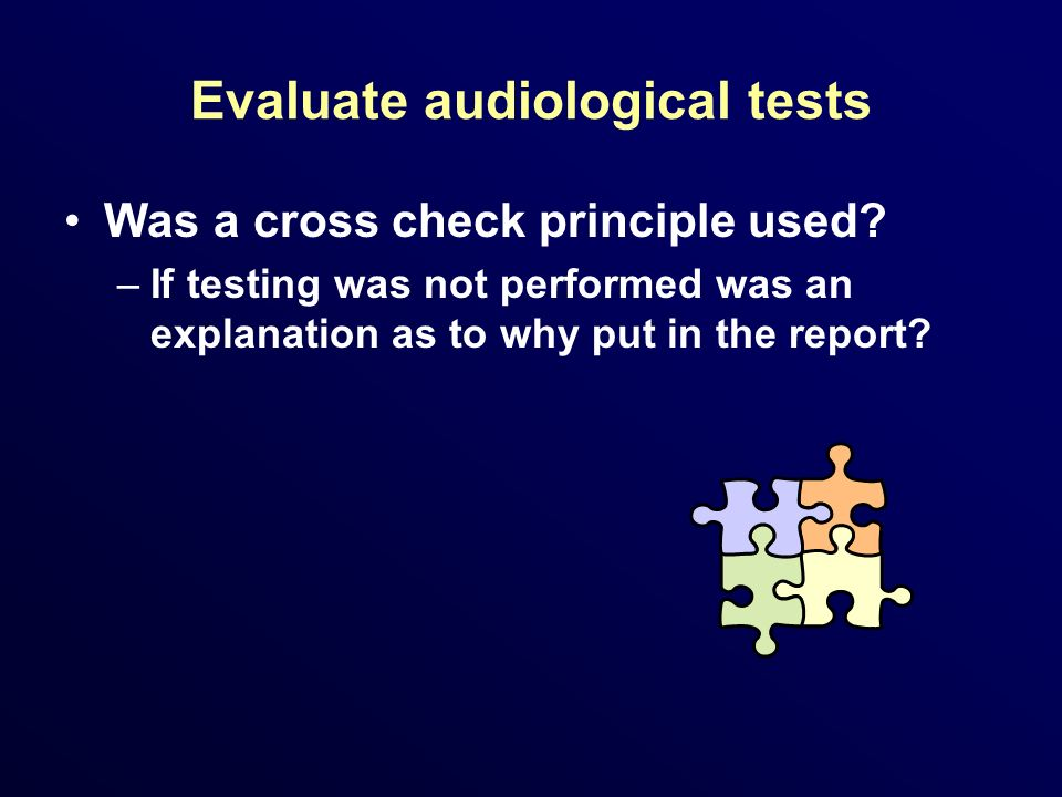 Evaluate audiological tests