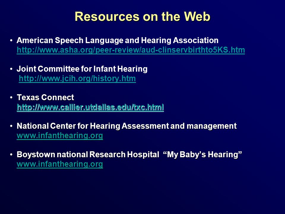 Resources on the Web American Speech Language and Hearing Association