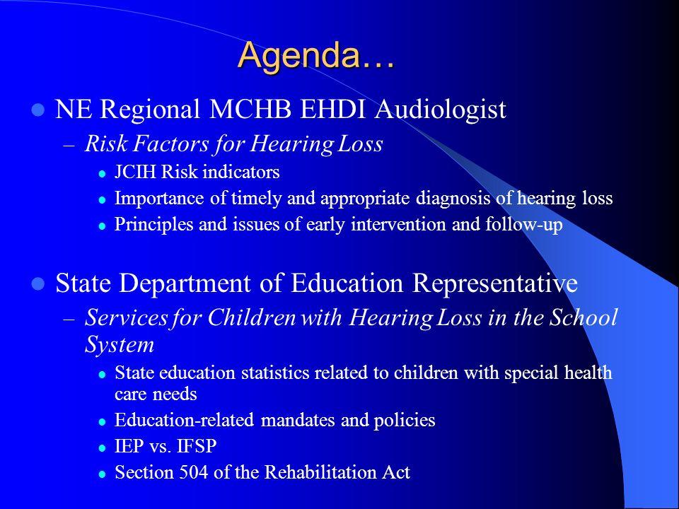 Agenda… NE Regional MCHB EHDI Audiologist