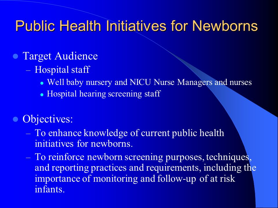 Public Health Initiatives for Newborns