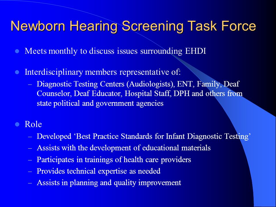 Newborn Hearing Screening Task Force