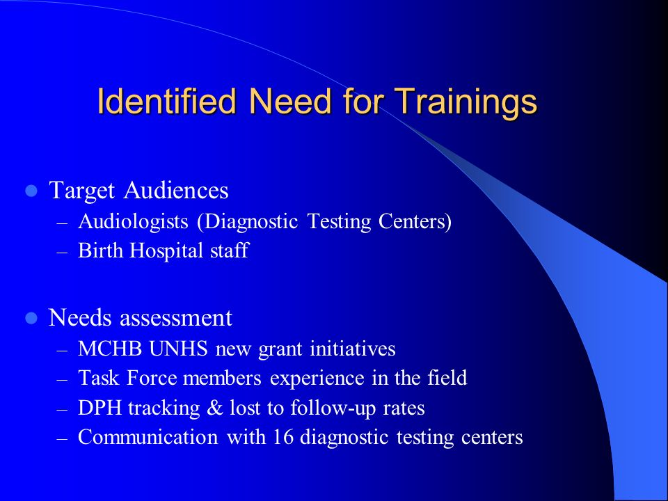 Identified Need for Trainings