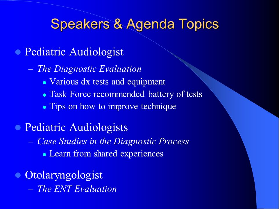 Speakers & Agenda Topics