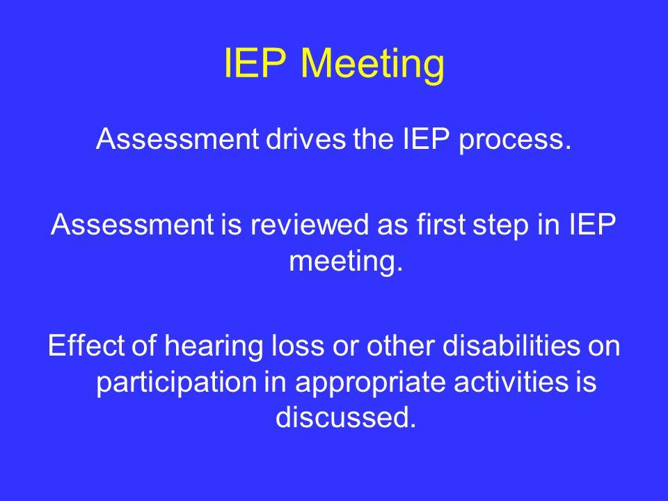 IEP Meeting Assessment drives the IEP process.