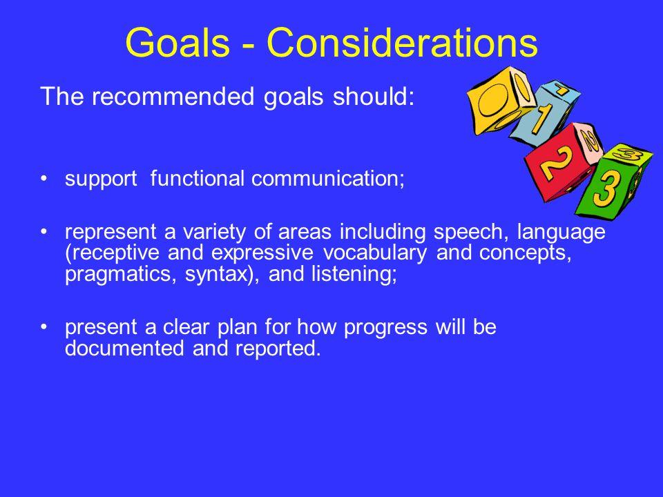 Goals - Considerations