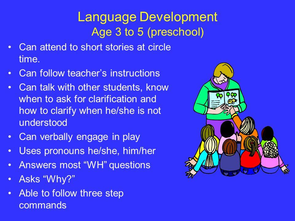 Language Development Age 3 to 5 (preschool)
