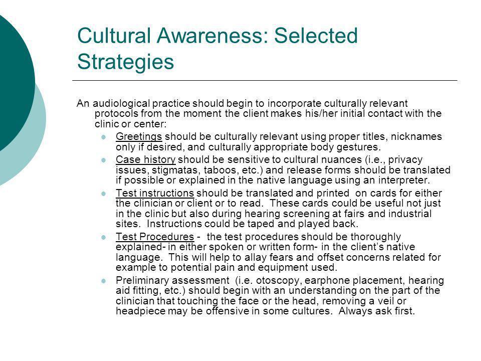 Cultural Awareness: Selected Strategies