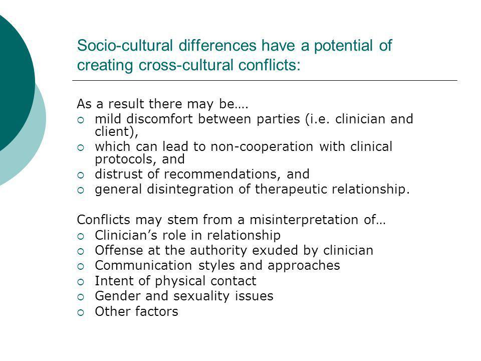 Socio-cultural differences have a potential of creating cross-cultural conflicts: