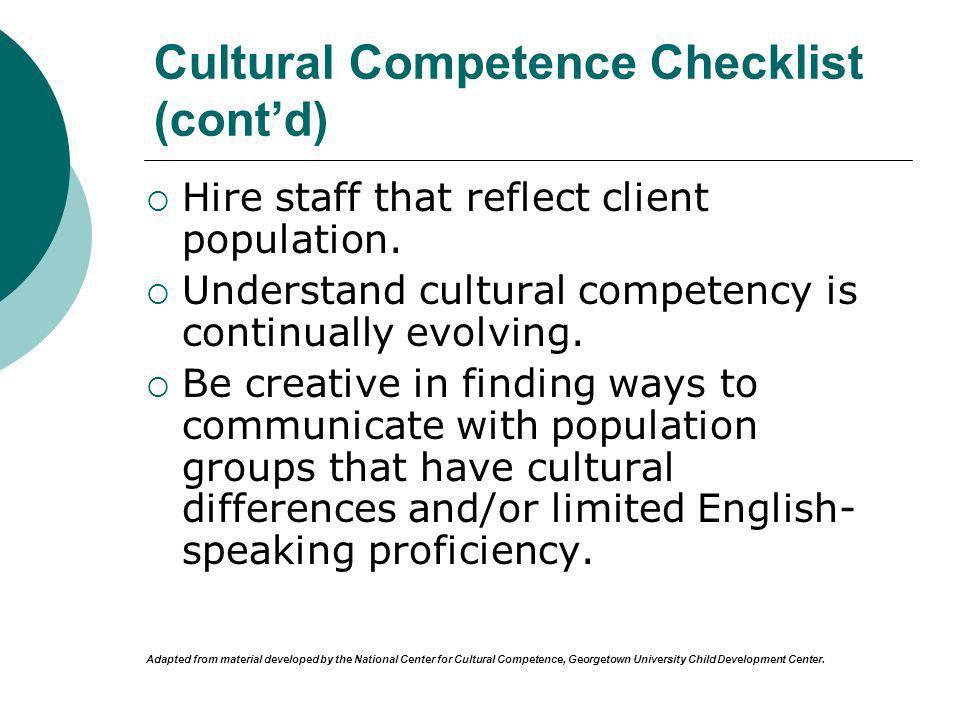 Cultural Competence Checklist (cont'd)