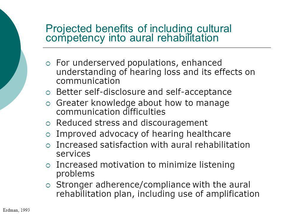 Projected benefits of including cultural competency into aural rehabilitation