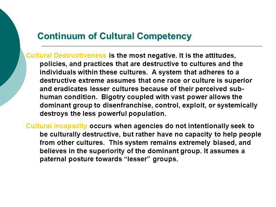 Continuum of Cultural Competency