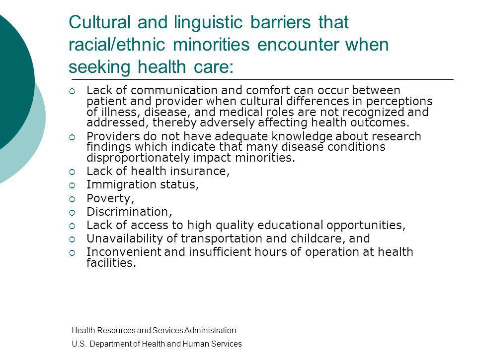 Cultural and linguistic barriers that racial/ethnic minorities encounter when seeking health care: