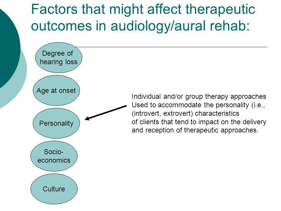 Factors that might affect therapeutic outcomes in audiology/aural rehab: