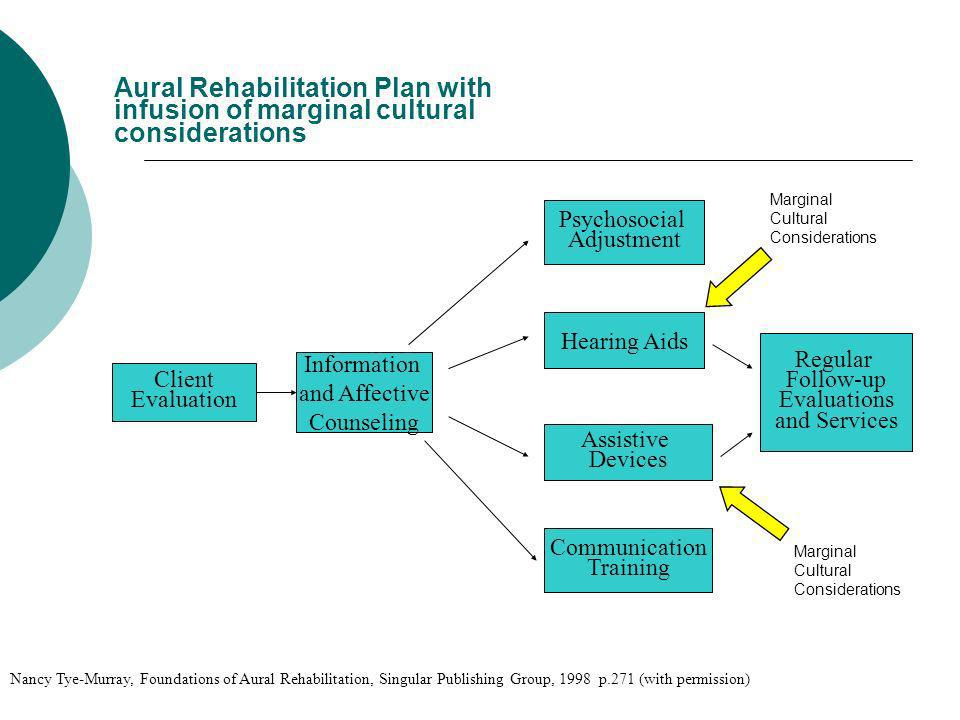 Aural Rehabilitation Plan with infusion of marginal cultural considerations