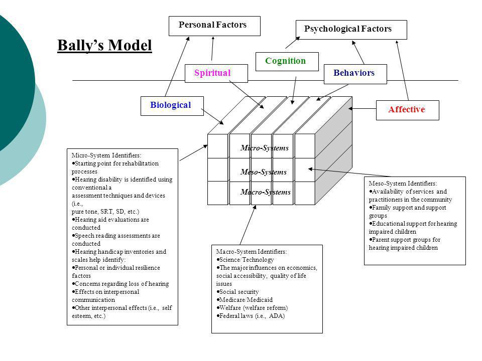 Bally's Model Cognition Spiritual Behaviors Biological Affective