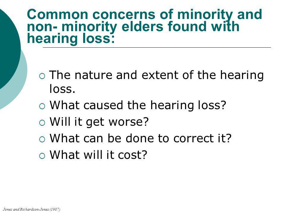 Common concerns of minority and non- minority elders found with hearing loss: