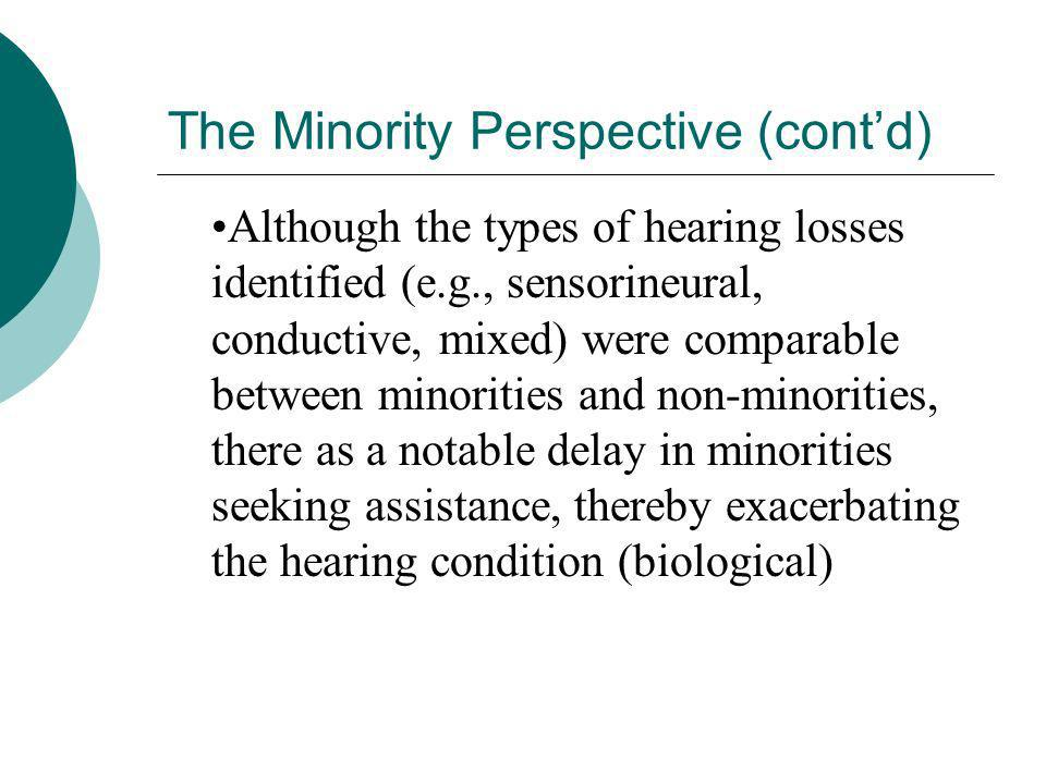 The Minority Perspective (cont'd)