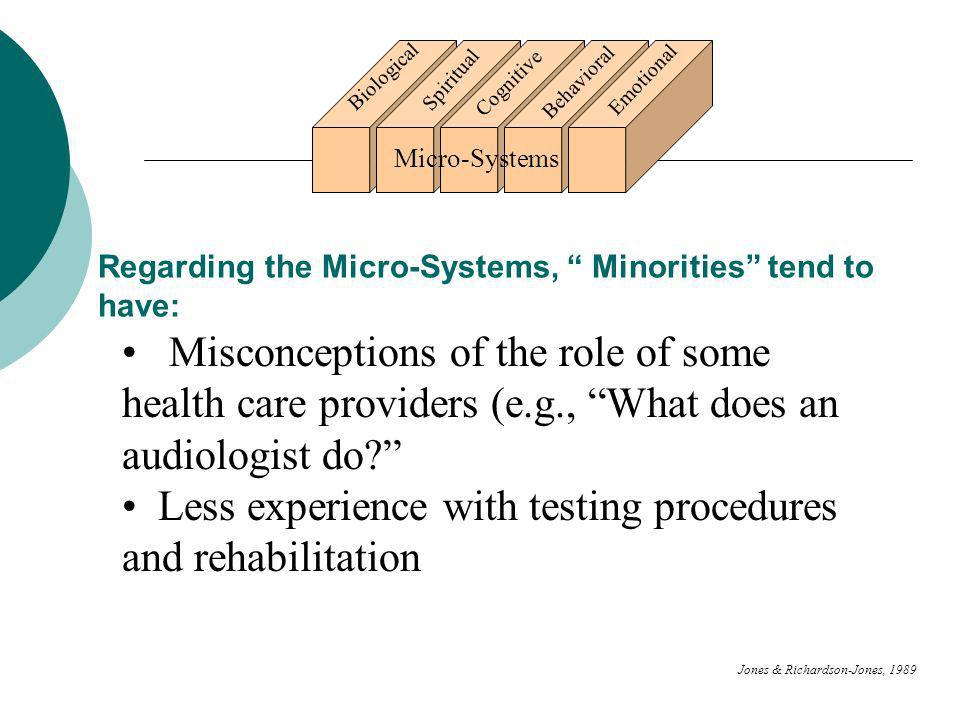 Regarding the Micro-Systems, Minorities tend to have: