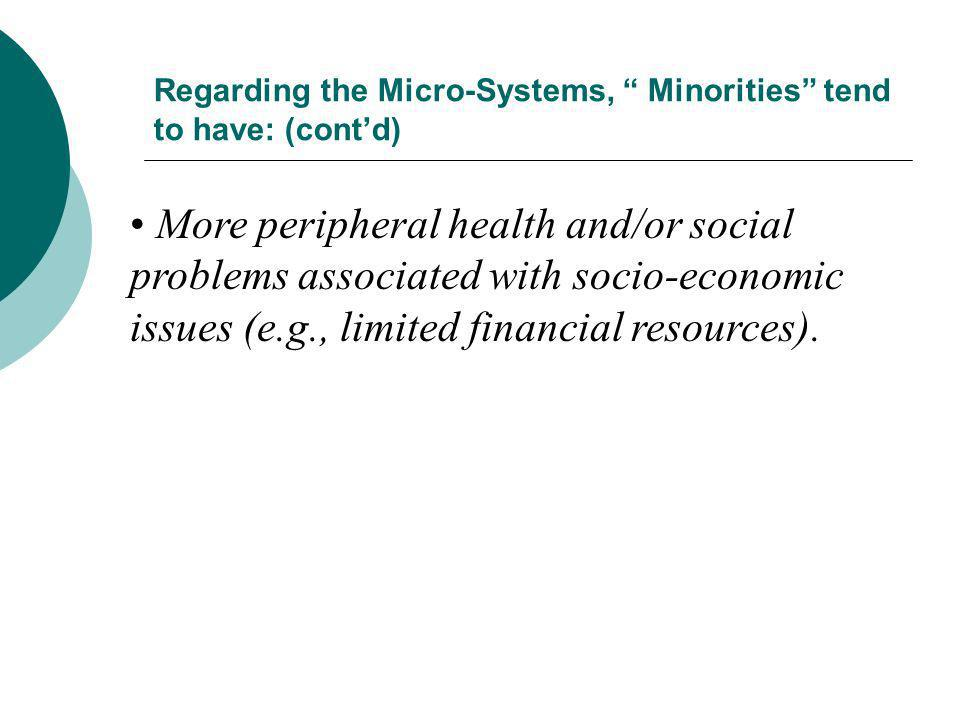 Regarding the Micro-Systems, Minorities tend to have: (cont'd)