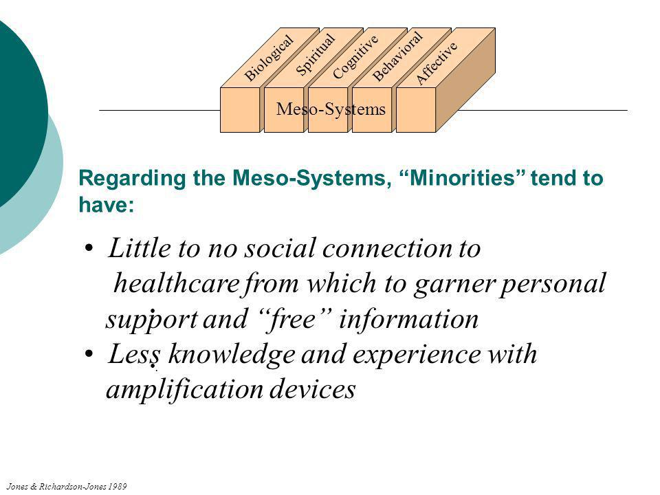 Regarding the Meso-Systems, Minorities tend to have: