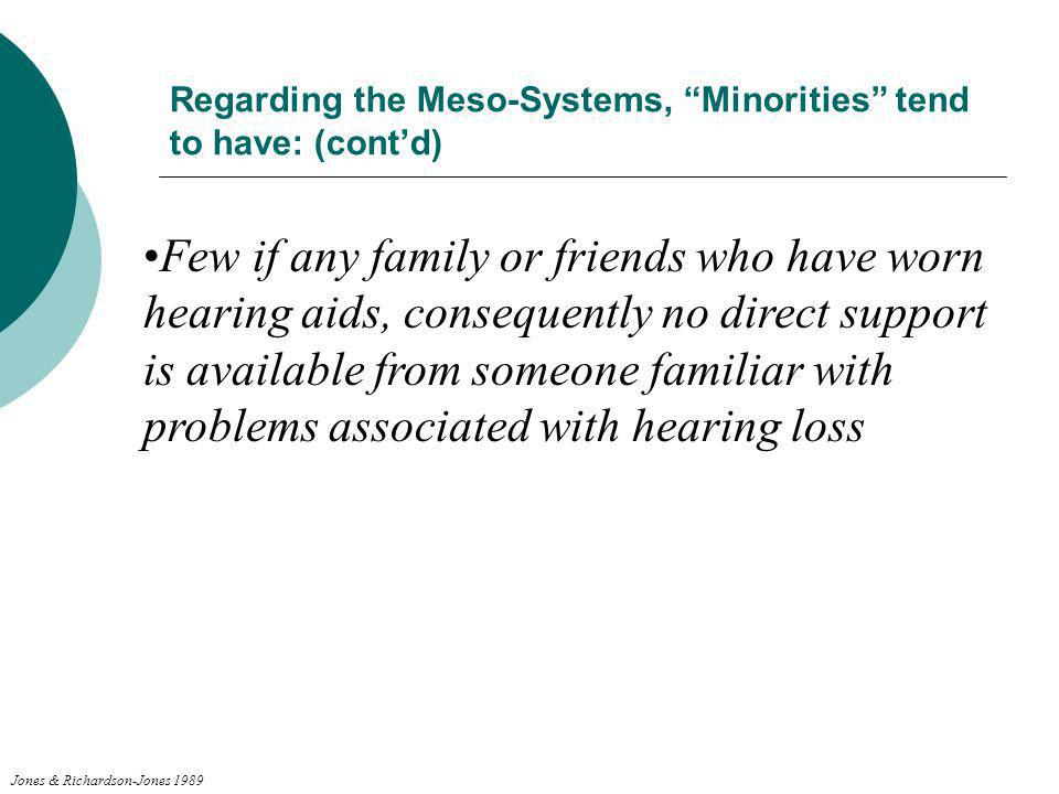 Regarding the Meso-Systems, Minorities tend to have: (cont'd)