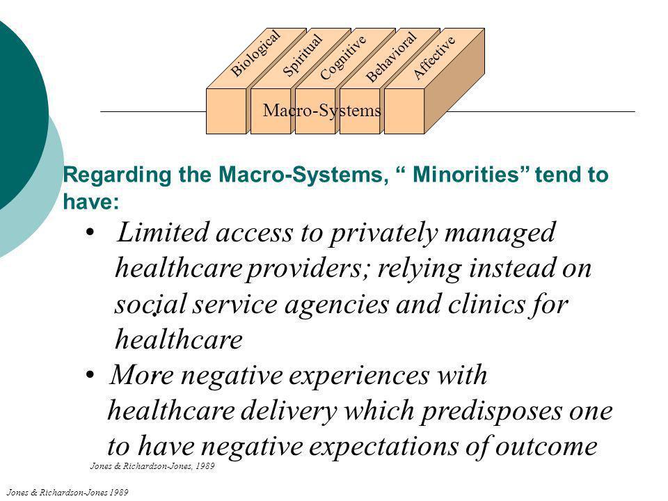 Regarding the Macro-Systems, Minorities tend to have:
