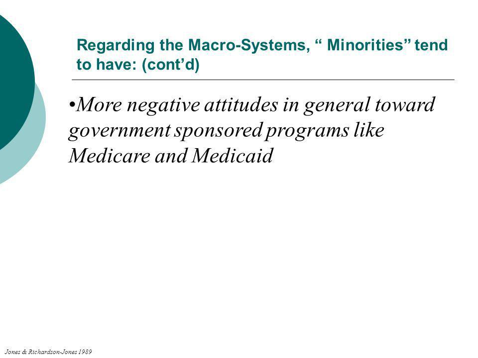 Regarding the Macro-Systems, Minorities tend to have: (cont'd)