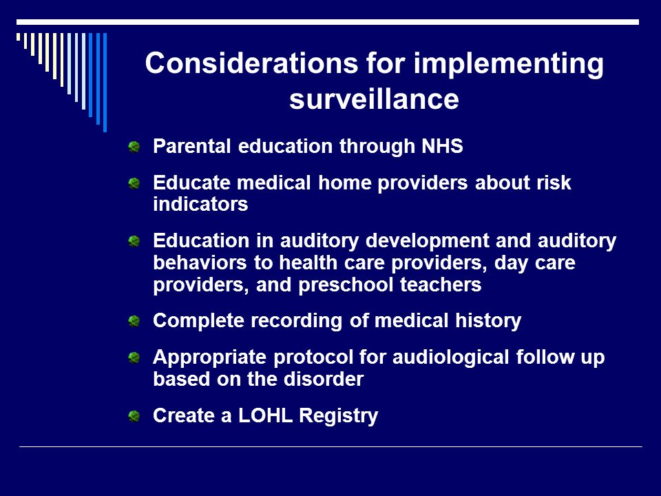 Considerations for implementing surveillance
