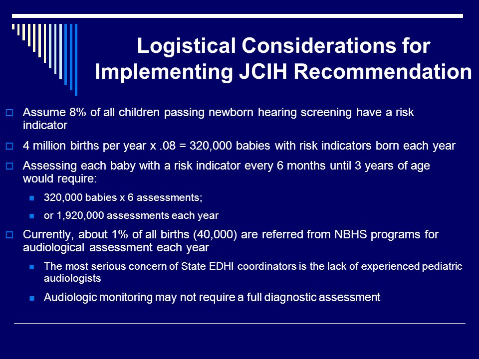 Logistical Considerations for Implementing JCIH Recommendation