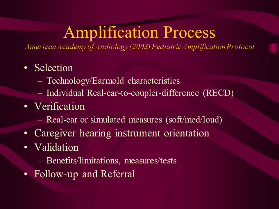 Amplification Process American Academy of Audiology (2003) Pediatric Amplification Protocol