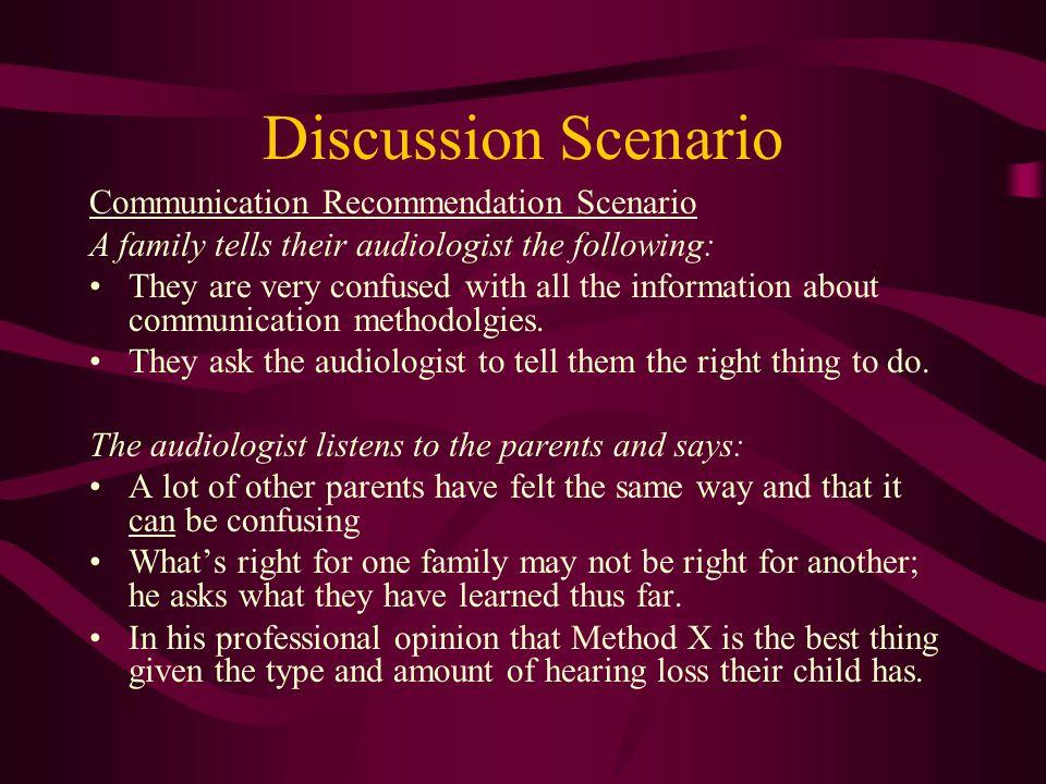 Discussion Scenario Communication Recommendation Scenario