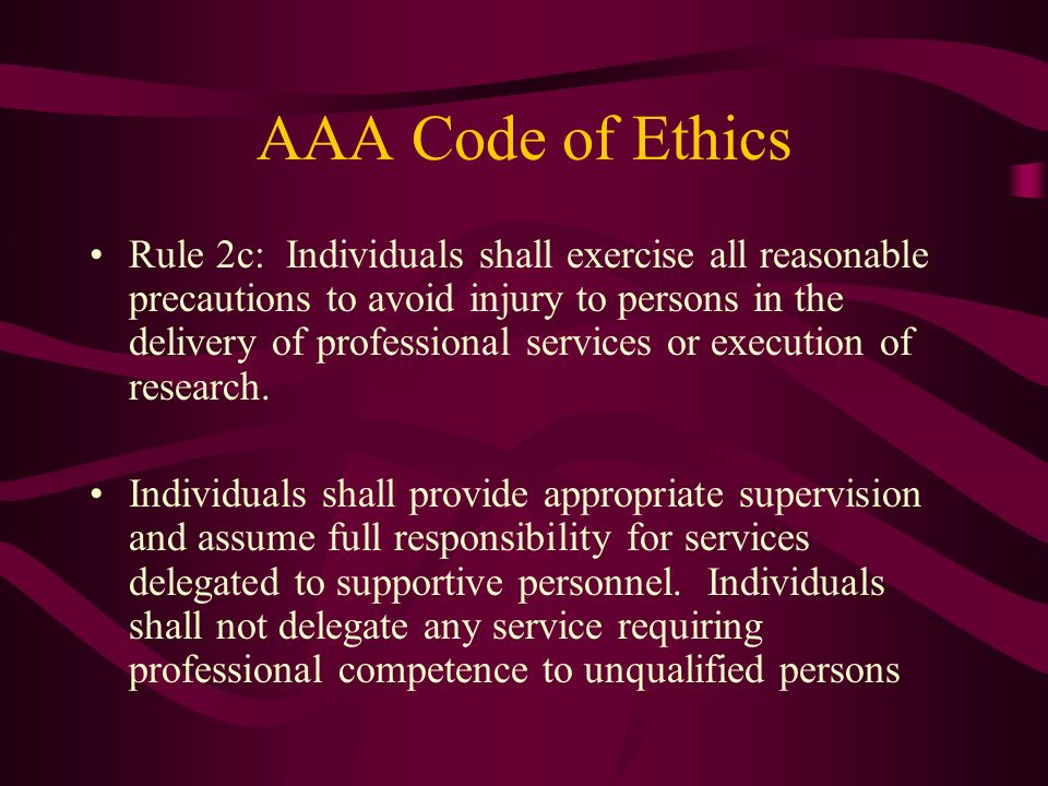 AAA Code of Ethics