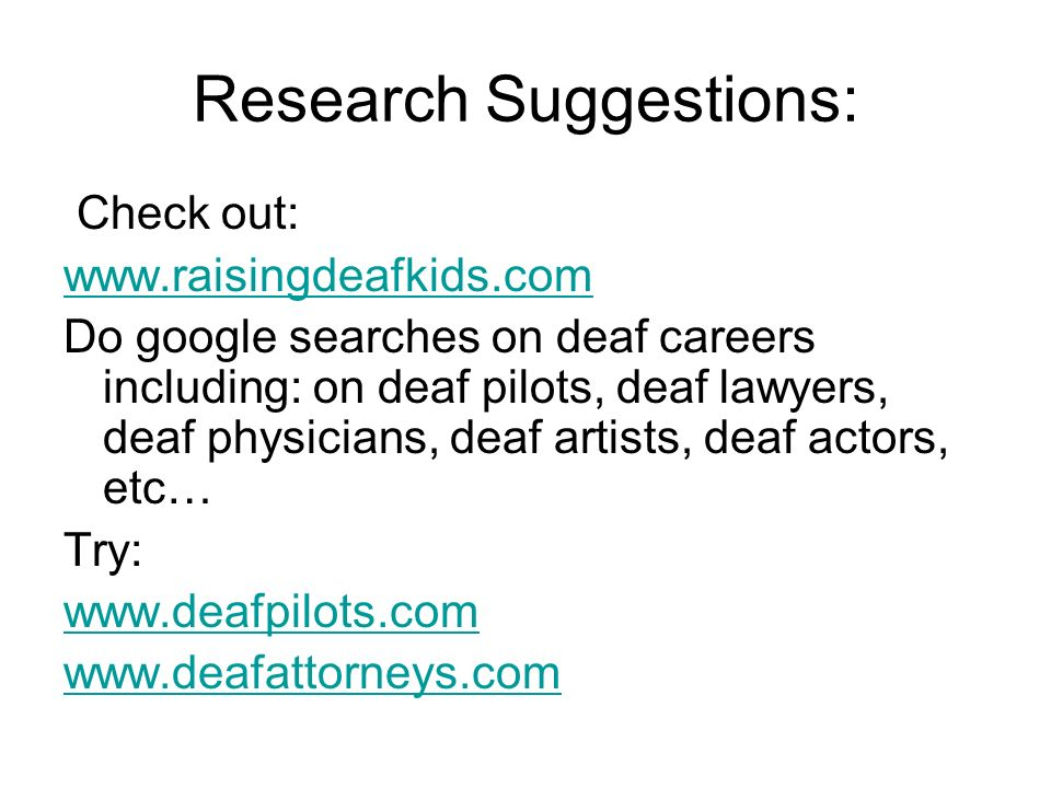 Research Suggestions: