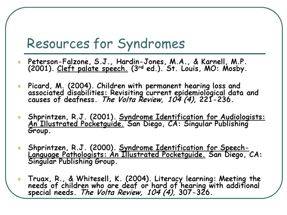 Resources for Syndromes