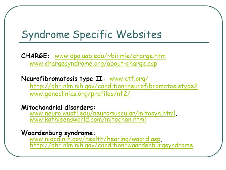 Syndrome Specific Websites