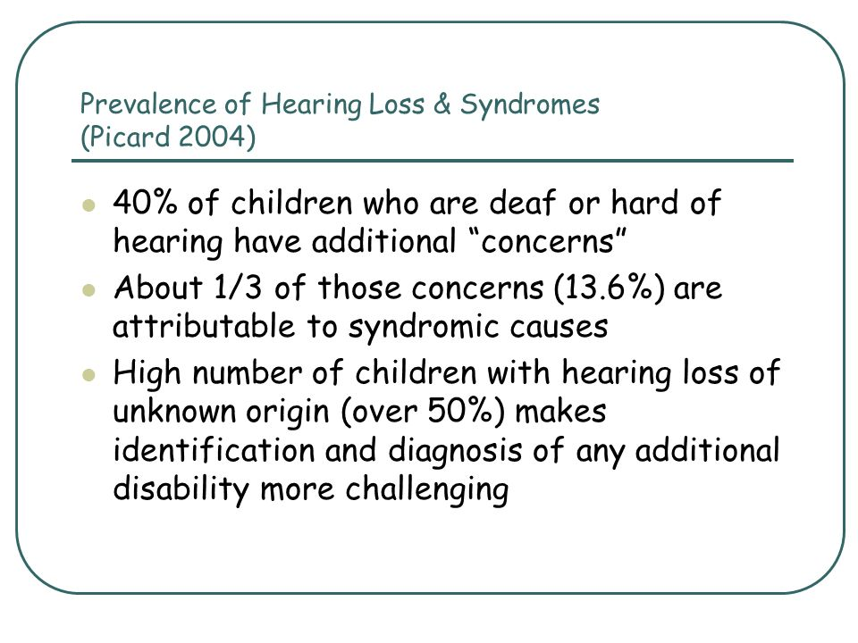 Prevalence of Hearing Loss & Syndromes (Picard 2004)