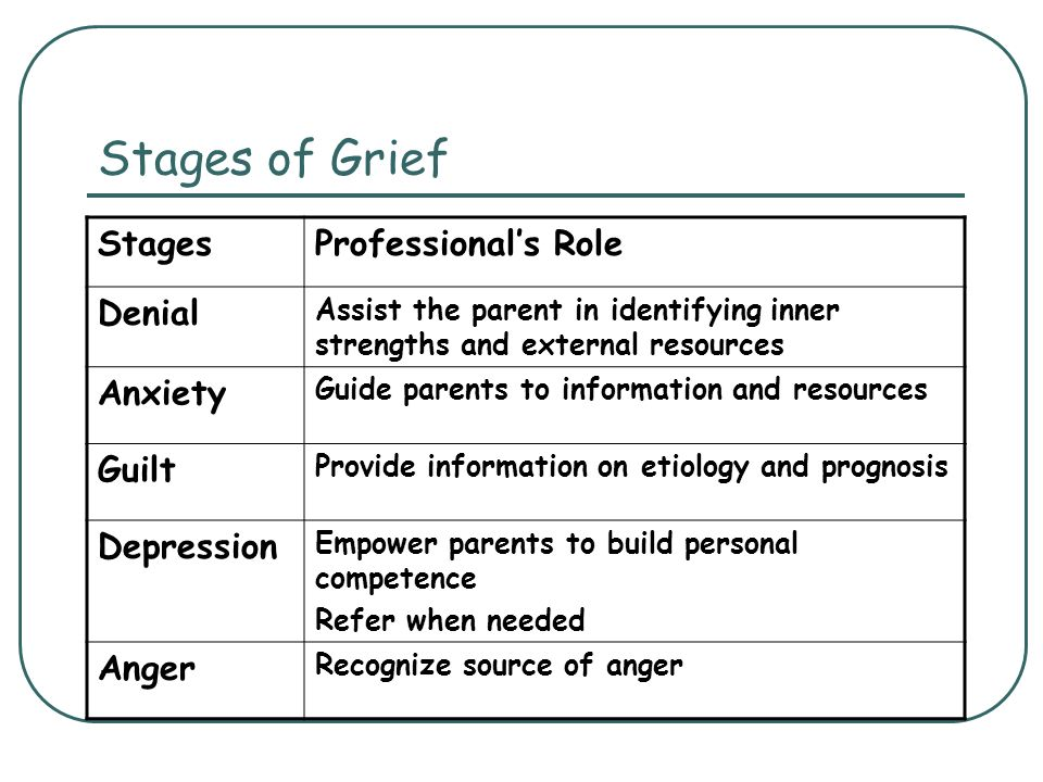 Stages of Grief Stages Professional's Role Denial Anxiety Guilt